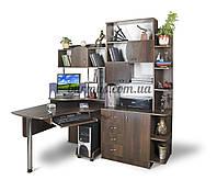Угловой рабочий стол с шкафом-пеналом, Эксклюзив-8 орех темный