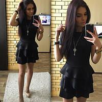 0622fda2e30 Женское платье короткое с воланами черное дайвинг 023 01 ЕМ