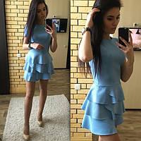 Женское платье короткое с воланами голубое дайвинг 023/04 ЕМ