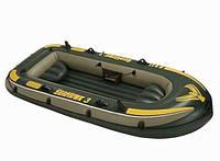 Трехкамерная надувная лодка с надувным дном INTEX 68349 SEAHAWK