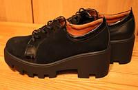 Женские туфли замшевые на тракторной подошве, замшевая обувь от производителя модель В1509зам