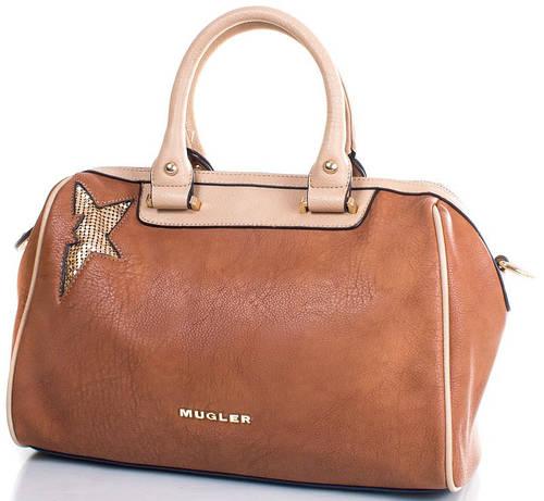 Стильный саквояж для леди, искусственная кожа MUGLER FRH-FOLK4 коричневый