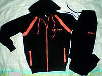 Дизайнерский спортивный костюм Арвис. Черно-оранжевый с капюшоном, на змейке.