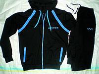 Дизайнерский спортивный костюм Арвис. Черно-Электрик с капюшоном, на змейке.