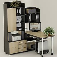 Компьютерный стол угловой со шкафом- пеналом Ск-17, дуб молочный+ венге- магия