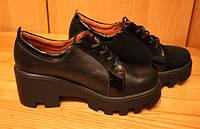 Женские туфли кожаные на тракторной подошве, туфли женские кожаные от производителя модель В1509К, фото 1