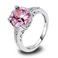 Cеребрянное кольцо с розовым топазом в стиле Тиффани