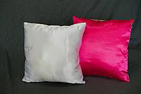 Подушка атлас квадрат 35х35 цветная с одной стороны РОЗОВАЯ