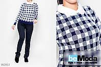 Эффектный свитер женский Gertie Cell D.Blue из приятного трикотажа с принтом с оригинальным воротником темно-синий