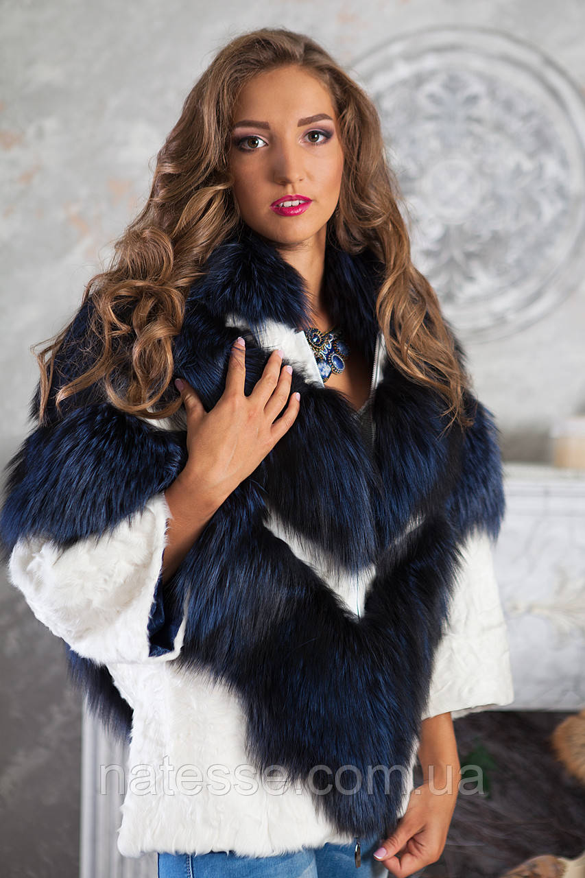 "Шуба полушубок из чернобурки ""София"" silver fox fur coat jacket"