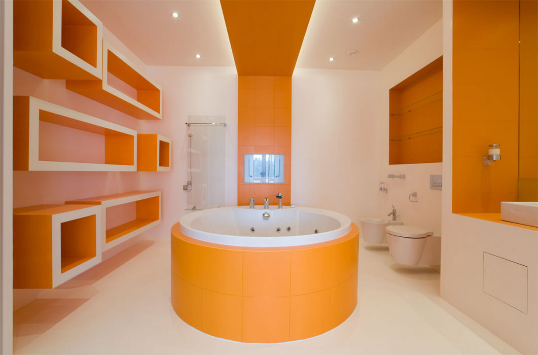 Ванная в оранжевых тонах.Дизайн  Интерьеров в Харькове Строительство Коттеджей