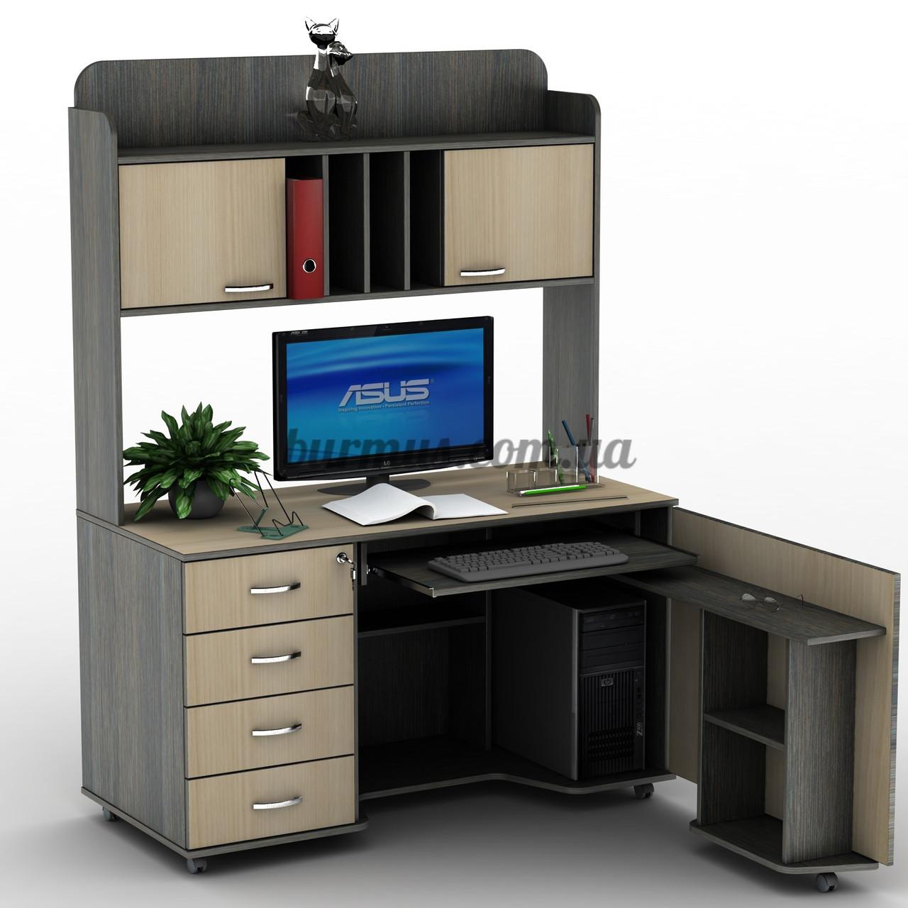Закрытый компьютерный стол на роликах, угловой с полками су-.