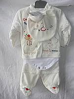 Детский комплект, бодиком, шапочка, перчатки 001/ купить детский костюм оптом со склада