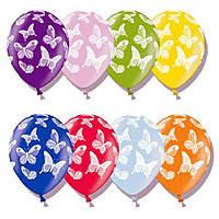 """Латексные воздушные шары BELBAL Бельгия металлик с рисунком 14 дюймов/36 см,""""Бабочки"""", круговая печать, 50 шт"""
