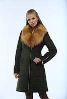 Дубленка модная женская средней длины из искусственного дубляжа с воротником из натуральной чернобурки Д-47, фото 1