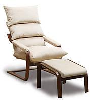 Кресло SuperComfort Комплект с пуфом и тканевыми подлокотниками Орех Светло-бежевый