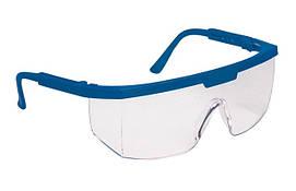 Очки защитные, пластиковые (синяя рамка)
