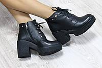 Ботильоны кожаные на шнуровке и на каблуке