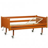 Кровать деревянная механическая на колесах, с перилами, металлический каркас (секции)