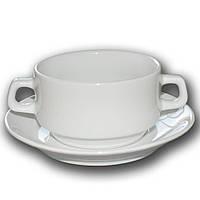 Чашка для бульона с блюдцем фарфоровая Farn