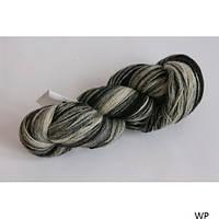 Пряжа из натуральной шерсти Мультиколор Кауни black-white 800. Для ручного и машинного вязания рукоделия Нитки