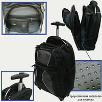 "Чемодан-рюкзак на 4 колесиках ""Black"", 4отд., отд.для ноутбука 46*35*18см"