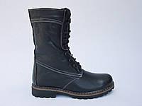 Женские кожаные высокие ботинки на каблуке