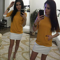 Женское платье короткое двухцветное горчица 012/2 ЕМ