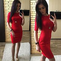 Женское платье облегающее красное дайвинг 026/1 ЕМ