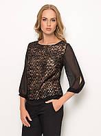 Женская нарядная блуза черного цвета с шифоновыми рукавами. Модель Z41 Sunwear. Коллекция осень-зима 2017.