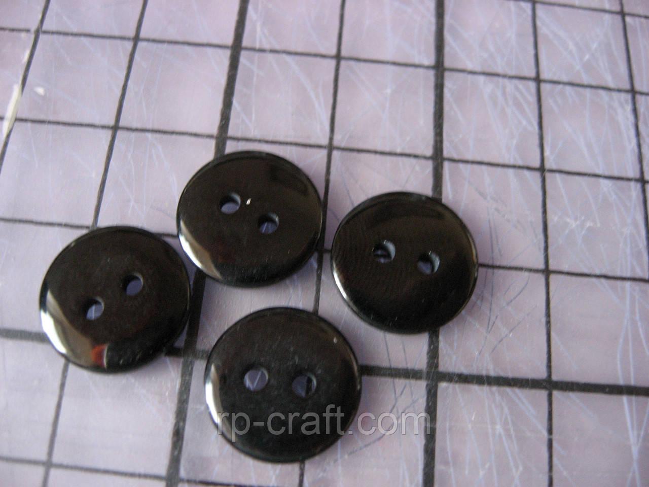 Пуговица пластиковая, 13 мм, черная