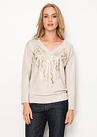 Женская трикотажная кофточка бежевого цвета с длинным рукавом. Модель Z51 Sunwear. Коллекция осень-зима 2017.