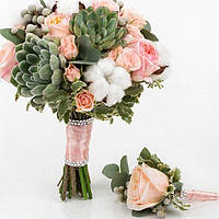 Свадебный букет с суккулентами и розами