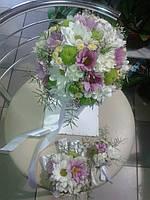 Свадебный букет из микса хризантем
