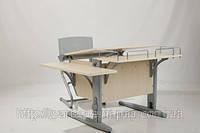 Детская парта-трансформеры Дэми СУТ.14-02 + ортопедическое кресло, цвет клен/серый. рисунок фрегат