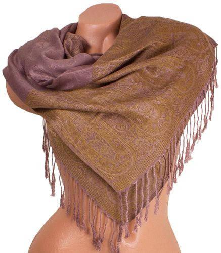 Удивительный женский двусторонний палантин из пашмины 171 на 70 см ETERNO ES0206-2-2 коричневый