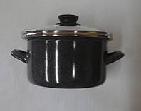 Кастрюля эмалированная цилиндрической формы 2,5 л.(мрамор-2)