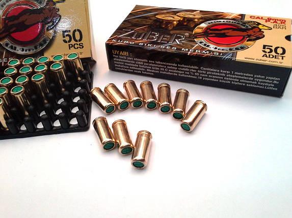 Холостые патроны. Патрон Zuber, 9 мм, пистолетный холостой, 50 шт. Холостой пистолетный патрон Ozkursan, фото 2