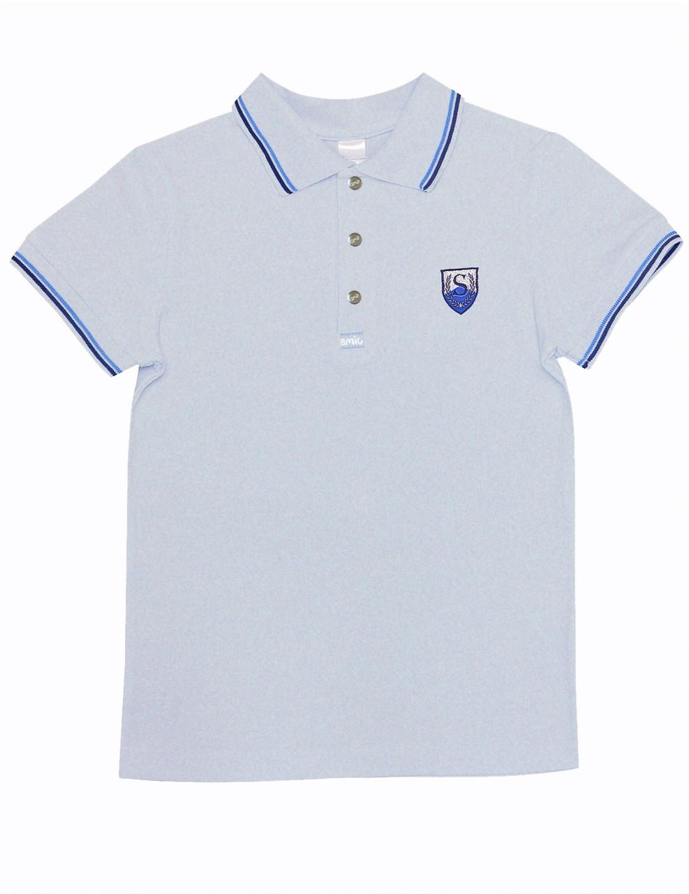 Рубашка поло для мальчика с коротким рукавом, серый меланж, SMIL (Смил), Украина 128,134