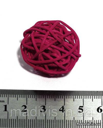 Шар из ротанга 3 см. красный