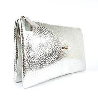 Кожаный клатч Desisan 070 серебристый, расцветки в наличии