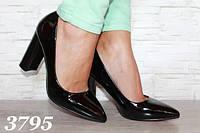 Женские лодочки на каблуке. Состав эко - лак. Цвет черный. Размеры 35-39. AЮ3795