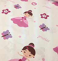 Хлопковая ткань польская розовая принцесса на белом