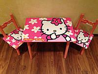Детский столик и 2 стульчика Hello Kitty Bambi M 0293 дерево