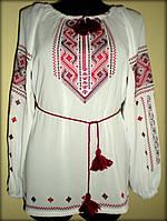 """Вишиванка жіноча  """"Дві дороги"""" на білому шифоні, блуза вишита червоними та бордовими нитками, машинна вишивка"""