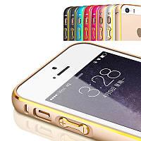 Металлический алюминиевый ультратонкий бампер с полоской для Iphone 5/5S/5SE