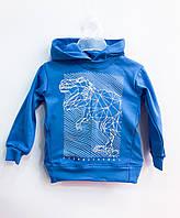 Трикотажный худи Тиранозавр (голубой), двунитка