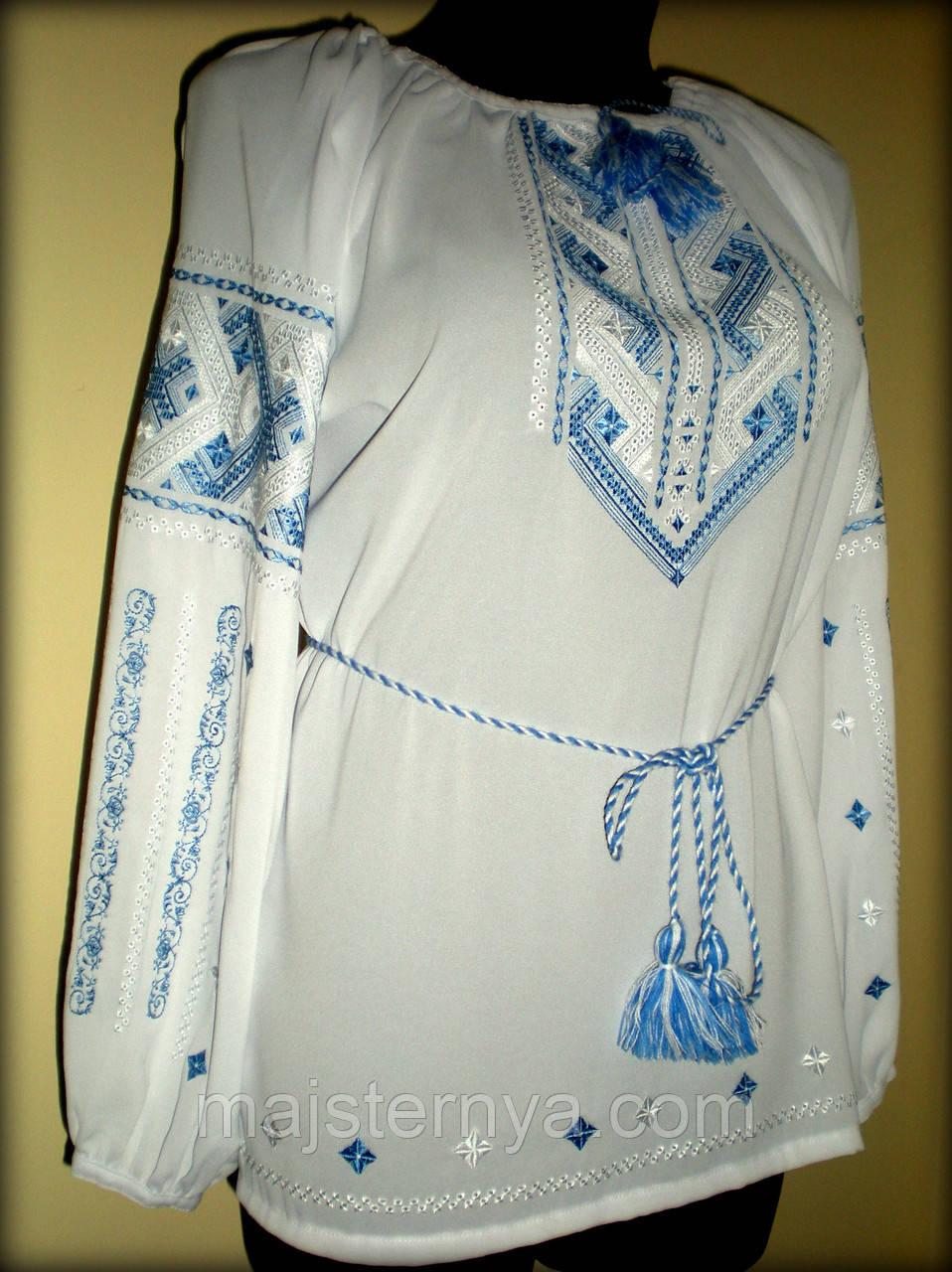 """Вишиванка жіноча  """"Дві дороги"""" на білому шифоні, блуза вишита синіми та білими нитками, машинна вишивка"""