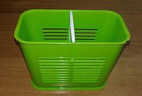 Подставка для столовых приборов 2-секции, органайзер Зеленый