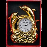 Зажигалка подарочная с часами Дельфины (Золото)